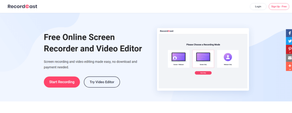 RecordCast Online Screen Recorder
